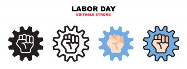 Labor day icon set, concept with helmet and hand. Icons designed in filled, outline, flat, glyph and line colored. Editable stroke and pixel perfect. Can be used for web, mobile, ui and more. icon