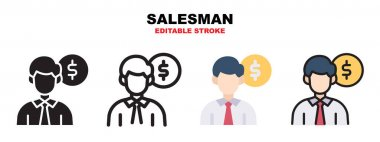 Salesman icon set with different styles. Icons designed in filled, outline, flat, glyph and line colored. Editable stroke and pixel perfect. Can be used for web, mobile, ui and more. icon