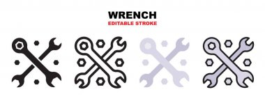 Wrench cross icon set with different styles. Icons designed in filled, outline, flat, glyph and line colored. Editable stroke and pixel perfect. Can be used for web, mobile, ui and more. icon