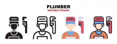 Plumber icon set with different styles. Icons designed in filled, outline, flat, glyph and line colored. Editable stroke and pixel perfect. Can be used for web, mobile, ui and more. icon