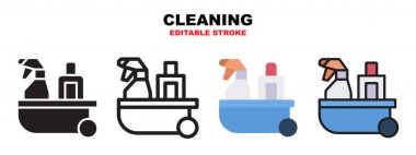 Cleaning icon set with different styles. Icons designed in filled, outline, flat, glyph and line colored. Editable stroke and pixel perfect. Can be used for web, mobile, ui and more. icon