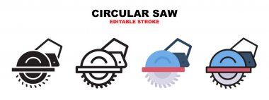 Circular Saw icon set with different styles. Icons designed in filled, outline, flat, glyph and line colored. Editable stroke and pixel perfect. Can be used for web, mobile, ui and more. icon