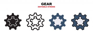 Gear icon set with different styles. Icons designed in filled, outline, flat, glyph and line colored. Editable stroke and pixel perfect. Can be used for web, mobile, ui and more. icon