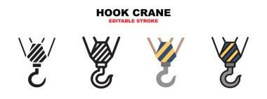 Hook Crane icon set with different styles. Icons designed in filled, outline, flat, glyph and line colored. Editable stroke and pixel perfect. Can be used for web, mobile, ui and more. icon