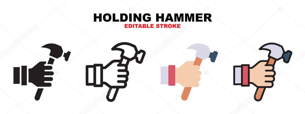 Holding Hammer icon set with different styles icon
