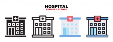 Hospital icon set with different styles. Icons designed in filled, outline, flat, glyph and line colored. Editable stroke and pixel perfect. Can be used for web, mobile, ui and more. icon