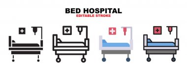 Bed Hospital icon set with different styles. Icons designed in filled, outline, flat, glyph and line colored. Editable stroke and pixel perfect. Can be used for web, mobile, ui and more. icon