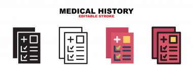 Medical History icon set with different styles. Icons designed in filled, outline, flat, glyph and line colored. Editable stroke and pixel perfect. Can be used for web, mobile, ui and more. icon