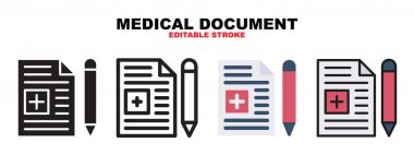 Medical Document icon set with different styles. Icons designed in filled, outline, flat, glyph and line colored. Editable stroke and pixel perfect. Can be used for web, mobile, ui and more. icon