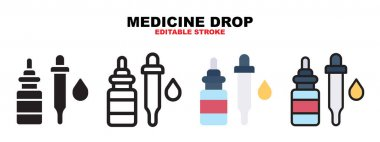 Medicine Drop icon set with different styles. Icons designed in filled, outline, flat, glyph and line colored. Editable stroke and pixel perfect. Can be used for web, mobile, ui and more. icon