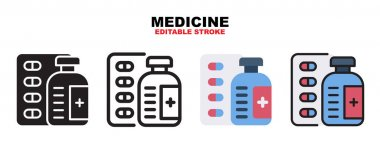 Medicine icon set with different styles. Icons designed in filled, outline, flat, glyph and line colored. Editable stroke and pixel perfect. Can be used for web, mobile, ui and more. icon