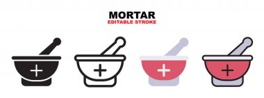 Mortar icon set with different styles. Icons designed in filled, outline, flat, glyph and line colored. Editable stroke and pixel perfect. Can be used for web, mobile, ui and more. icon