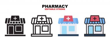 Pharmacy icon set with different styles. Icons designed in filled, outline, flat, glyph and line colored. Editable stroke and pixel perfect. Can be used for web, mobile, ui and more. icon