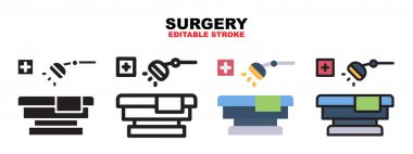 Surgery icon set with different styles. Icons designed in filled, outline, flat, glyph and line colored. Editable stroke and pixel perfect. Can be used for web, mobile, ui and more. icon
