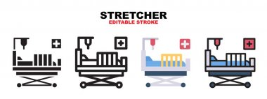 Stretcher icon set with different styles. Icons designed in filled, outline, flat, glyph and line colored. Editable stroke and pixel perfect. Can be used for web, mobile, ui and more. icon