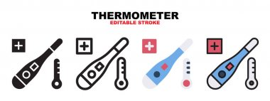 Thermometer icon set with different styles. Icons designed in filled, outline, flat, glyph and line colored. Editable stroke and pixel perfect. Can be used for web, mobile, ui and more. icon