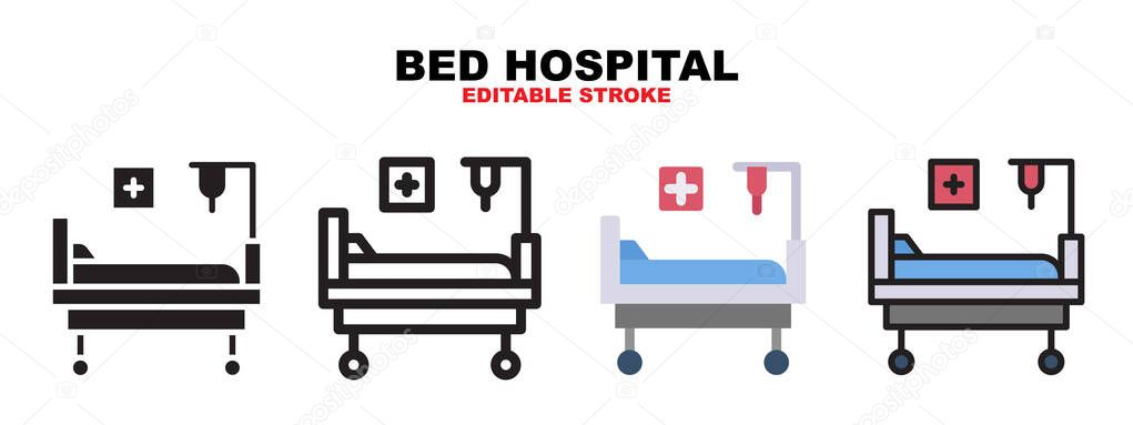 Bed Hospital icon set with different styles icon