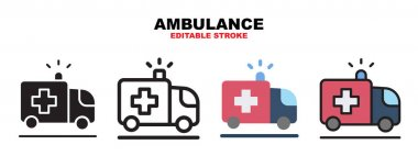 Ambulance icon set with different styles. Icons designed in filled, outline, flat, glyph and line colored. Editable stroke and pixel perfect. Can be used for web, mobile, ui and more. icon