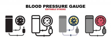 Blood Pressure Gauge icon set with different styles. Icons designed in filled, outline, flat, glyph and line colored. Editable stroke and pixel perfect. Can be used for web, mobile, ui and more. icon