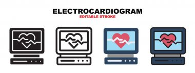 Electrocardiogram icon set with different styles. Icons designed in filled, outline, flat, glyph and line colored. Editable stroke and pixel perfect. Can be used for web, mobile, ui and more. icon