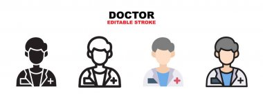 Doctor icon set with different styles. Icons designed in filled, outline, flat, glyph and line colored. Editable stroke and pixel perfect. Can be used for web, mobile, ui and more. icon