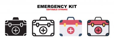 Emergency Kit icon set with different styles. Icons designed in filled, outline, flat, glyph and line colored. Editable stroke and pixel perfect. Can be used for web, mobile, ui and more. icon