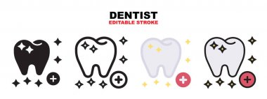 Dentist icon set with different styles. Icons designed in filled, outline, flat, glyph and line colored. Editable stroke and pixel perfect. Can be used for web, mobile, ui and more. icon