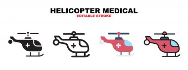 Helicopter Medical icon set with different styles. Icons designed in filled, outline, flat, glyph and line colored. Editable stroke and pixel perfect. Can be used for web, mobile, ui and more. icon