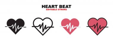 Heart Beat icon set with different styles. Icons designed in filled, outline, flat, glyph and line colored. Editable stroke and pixel perfect. Can be used for web, mobile, ui and more. icon