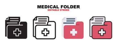 Medical Folder icon set with different styles. Icons designed in filled, outline, flat, glyph and line colored. Editable stroke and pixel perfect. Can be used for web, mobile, ui and more. icon