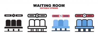 Waiting room icon set with different styles. Icons designed in filled, outline, flat, glyph and line colored. Editable stroke and pixel perfect. Can be used for web, mobile, ui and more. icon