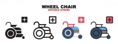 Wheel Chair icon set with different styles. Icons designed in filled, outline, flat, glyph and line colored. Editable stroke and pixel perfect. Can be used for web, mobile, ui and more. icon