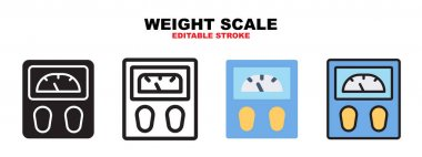 Weight Scale icon set with different styles. Icons designed in filled, outline, flat, glyph and line colored. Editable stroke and pixel perfect. Can be used for web, mobile, ui and more. icon