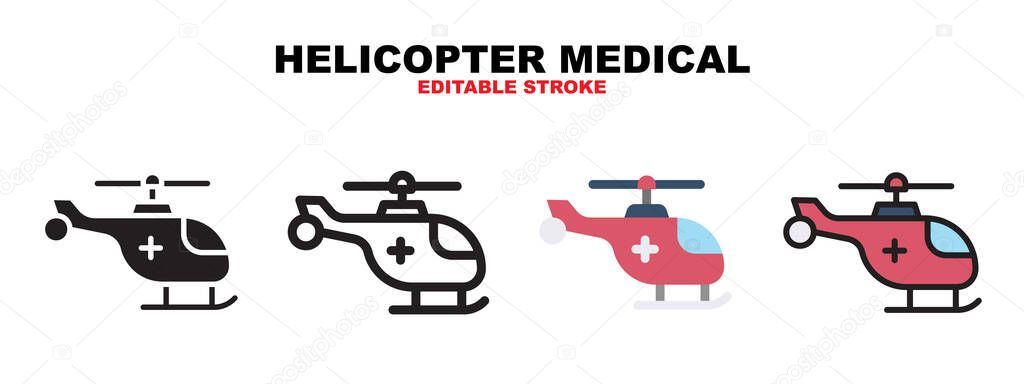 Helicopter Medical icon set with different styles icon