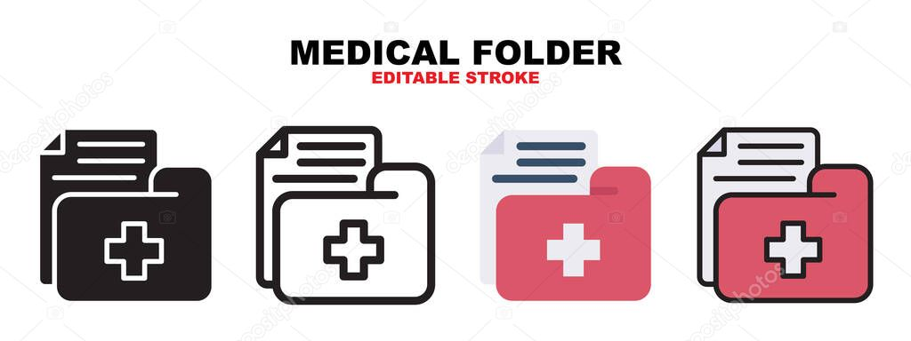 Medical Folder icon set with different styles icon