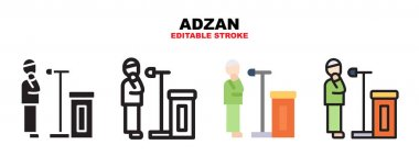Adzan icon set with different styles. Icons designed in filled, outline, flat, glyph and line colored. Editable stroke and pixel perfect. Can be used for web, mobile, ui and more. icon