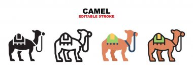 Camel icon set with different styles. Icons designed in filled, outline, flat, glyph and line colored. Editable stroke and pixel perfect. Can be used for web, mobile, ui and more. icon