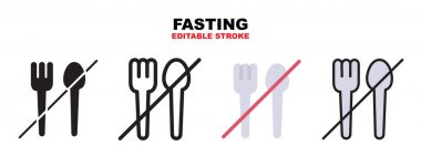 Fasting icon set with different styles. Icons designed in filled, outline, flat, glyph and line colored. Editable stroke and pixel perfect. Can be used for web, mobile, ui and more. icon