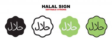 Halal Sign icon set with different styles. Icons designed in filled, outline, flat, glyph and line colored. Editable stroke and pixel perfect. Can be used for web, mobile, ui and more. icon