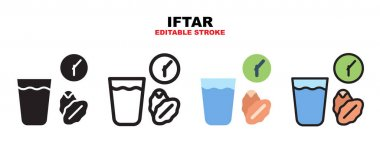 Iftar icon set with different styles. Icons designed in filled, outline, flat, glyph and line colored. Editable stroke and pixel perfect. Can be used for web, mobile, ui and more. icon