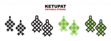 Ketupat icon set with different styles. Icons designed in filled, outline, flat, glyph and line colored. Editable stroke and pixel perfect. Can be used for web, mobile, ui and more. icon