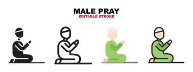 Male pray icon set with different styles. Icons designed in filled, outline, flat, glyph and line colored. Editable stroke and pixel perfect. Can be used for web, mobile, ui and more. icon