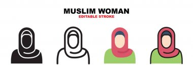 Muslim Woman icon set with different styles. Icons designed in filled, outline, flat, glyph and line colored. Editable stroke and pixel perfect. Can be used for web, mobile, ui and more. icon