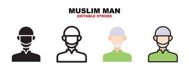 Muslim Man icon set with different styles. Icons designed in filled, outline, flat, glyph and line colored. Editable stroke and pixel perfect. Can be used for web, mobile, ui and more. icon