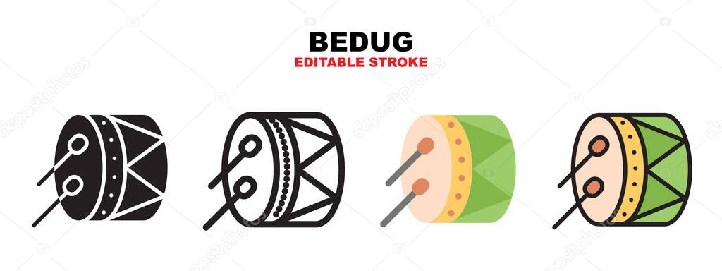 Bedug icon set with different styles icon