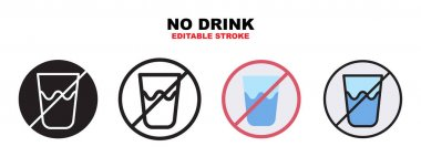 No Drink icon set with different styles. Icons designed in filled, outline, flat, glyph and line colored. Editable stroke and pixel perfect. Can be used for web, mobile, ui and more. icon
