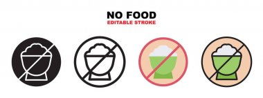 No Food icon set with different styles. Icons designed in filled, outline, flat, glyph and line colored. Editable stroke and pixel perfect. Can be used for web, mobile, ui and more. icon