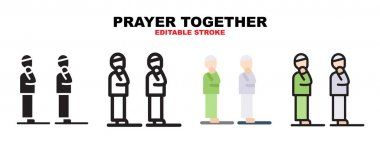 Prayer together icon set with different styles. Icons designed in filled, outline, flat, glyph and line colored. Editable stroke and pixel perfect. Can be used for web, mobile, ui and more. icon