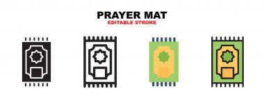 Prayer mat icon set with different styles. Icons designed in filled, outline, flat, glyph and line colored. Editable stroke and pixel perfect. Can be used for web, mobile, ui and more. icon