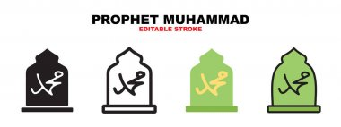Prophet Muhammad sign icon set with different styles. Icons designed in filled, outline, flat, glyph and line colored. Editable stroke and pixel perfect. Can be used for web, mobile, ui and more. icon